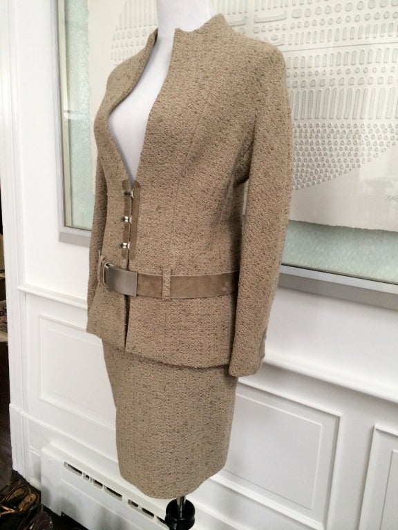 Chanel Belted Skirt Suit in Rich Wheat Camel Tweed 5