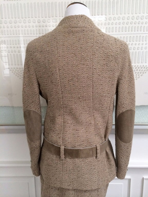 Chanel Belted Skirt Suit in Rich Wheat Camel Tweed 6