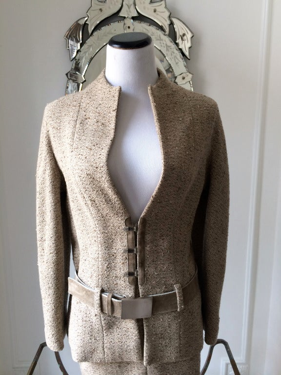 Chanel Belted Skirt Suit in Rich Wheat Camel Tweed 4