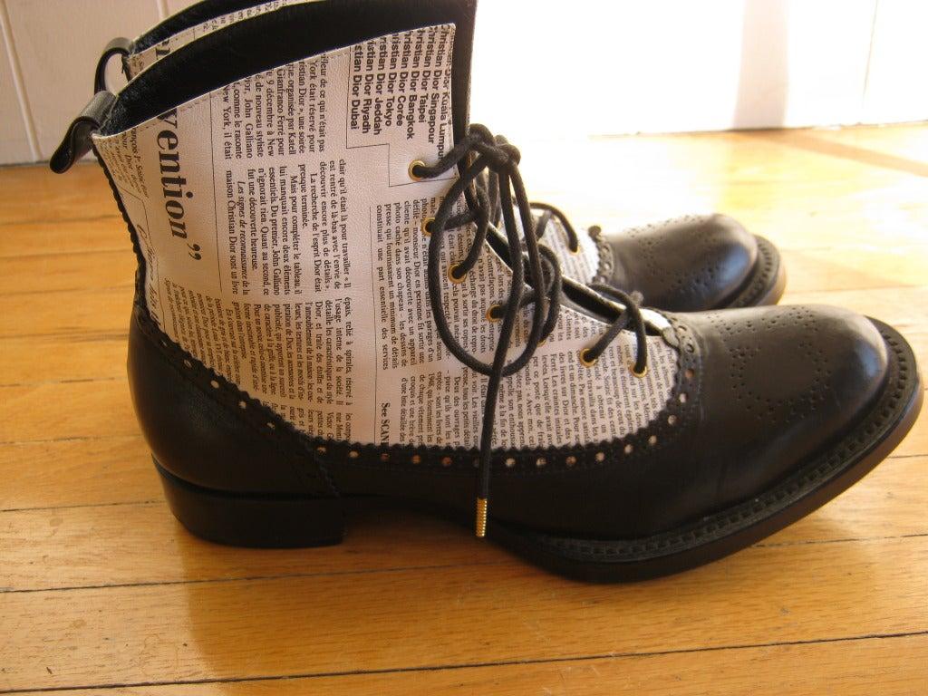 "Very Rare 2000 John Galliano for Dior ""newspaper print"" boots 3"