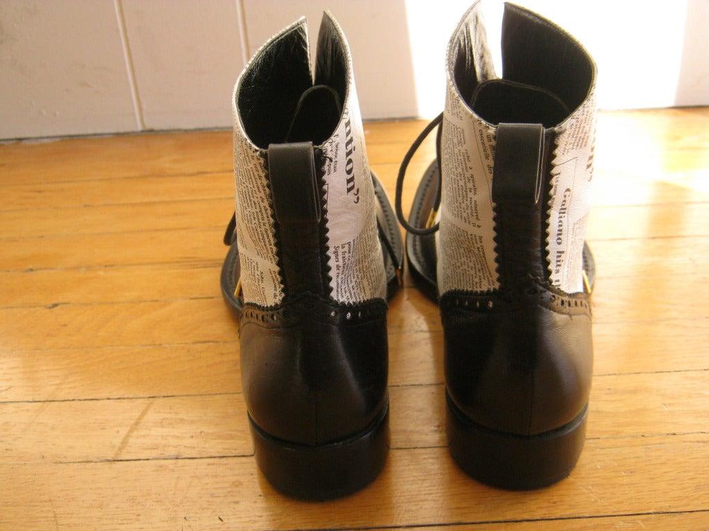 "Very Rare 2000 John Galliano for Dior ""newspaper print"" boots 4"