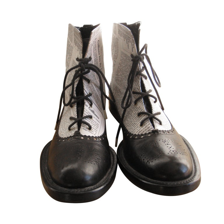 "Very Rare 2000 John Galliano for Dior ""newspaper print"" boots 2"
