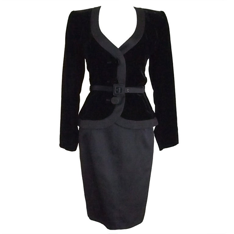 Never Worn 1980s Yves Saint Laurent Blazer and Skirt Suit For Sale