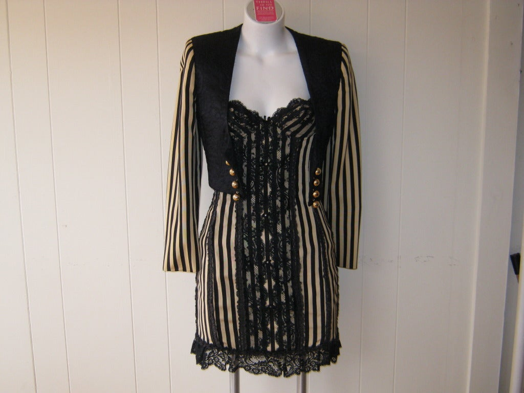 1990s Moschino Couture Corset Dress with Matching Bolero 4