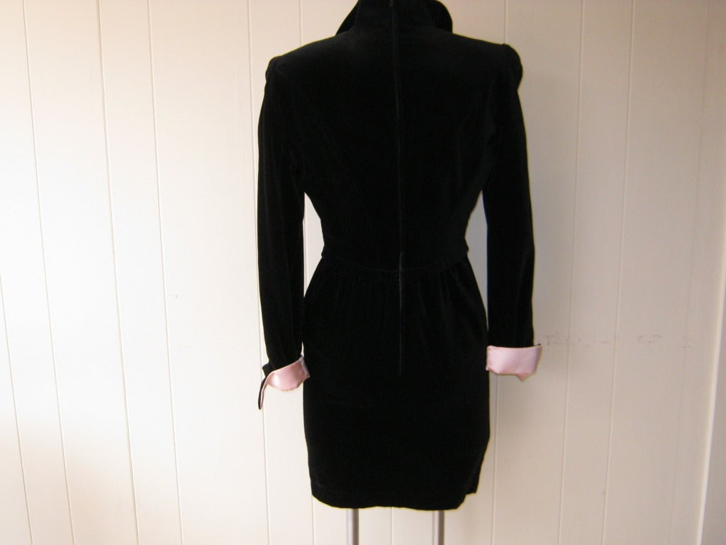1980s Thierry Mugler Black Velvet Cocktail Dress 2