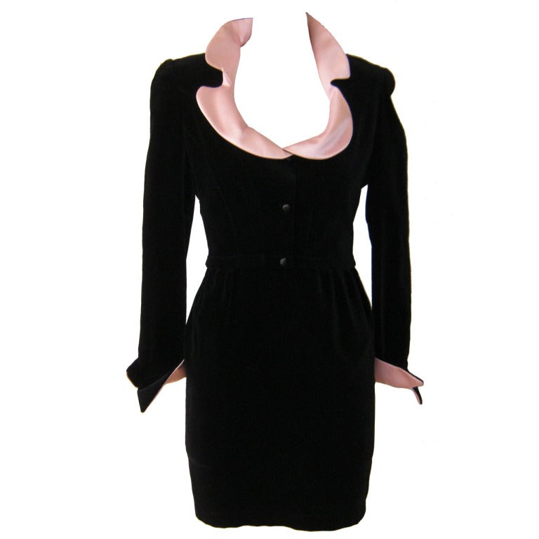 1980s Thierry Mugler Black Velvet Cocktail Dress 1