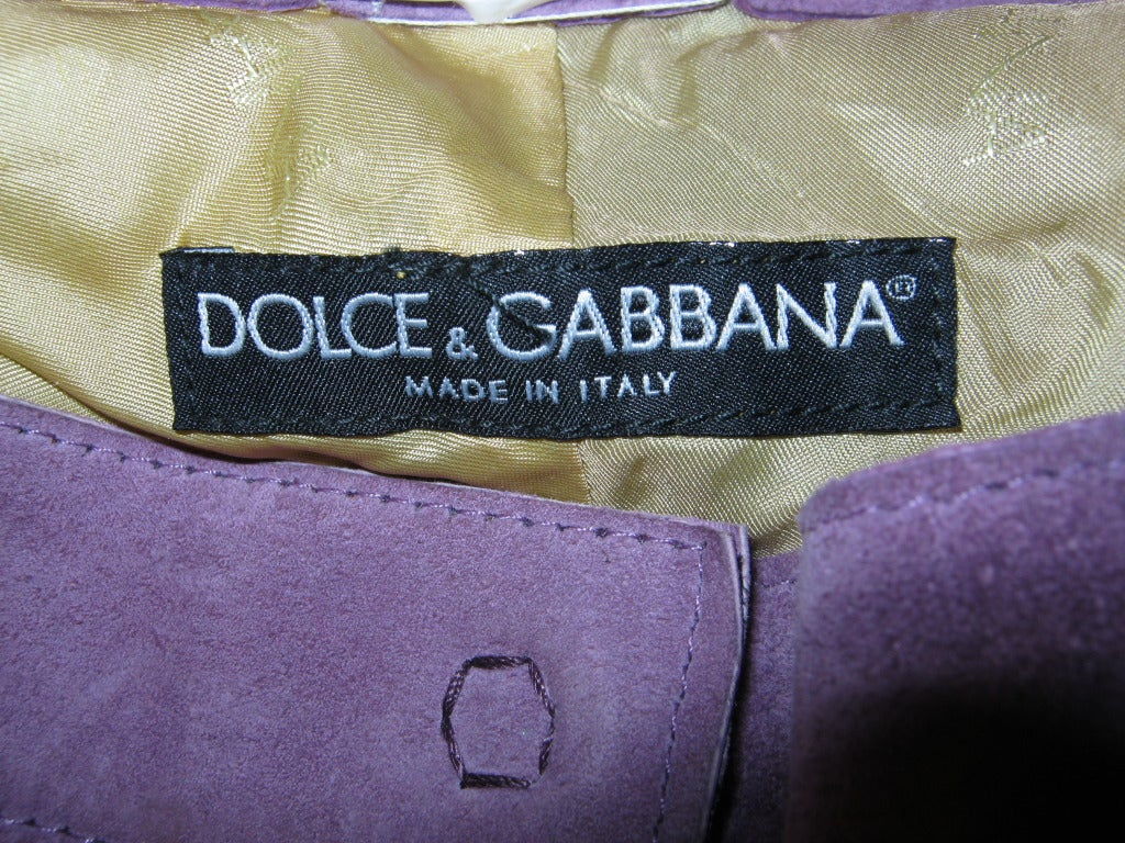 Gray Dolce & Gabbana Suede Pants For Sale