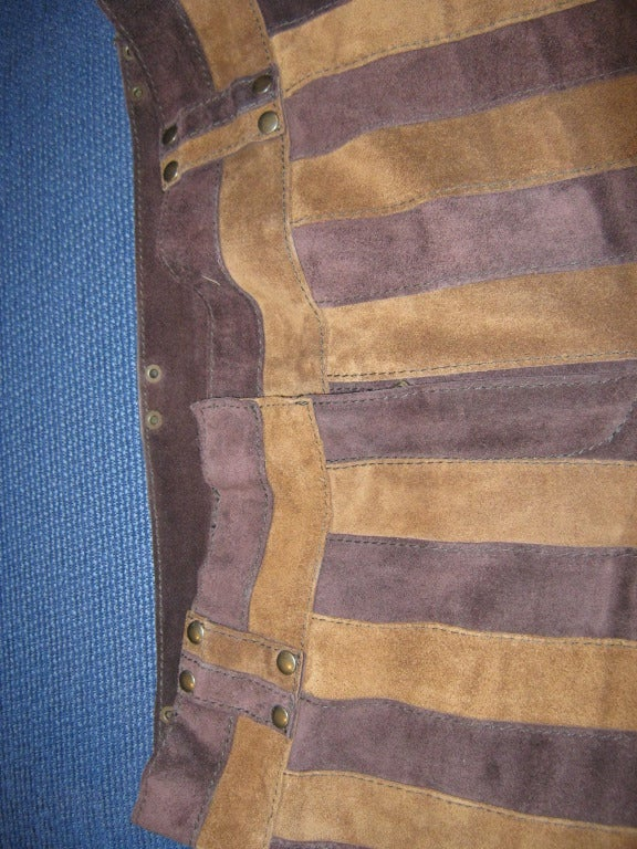 Brown Dolce & Gabbana Suede Striped Pants For Sale