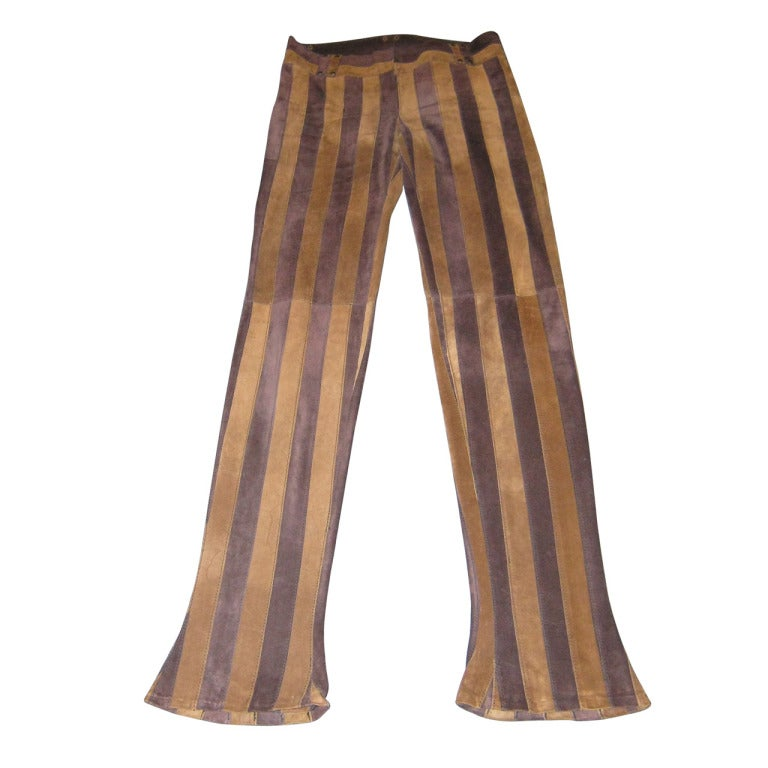 Dolce & Gabbana Suede Striped Pants For Sale