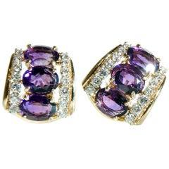 18k Amethyst & Diamond Earrings, EMIS