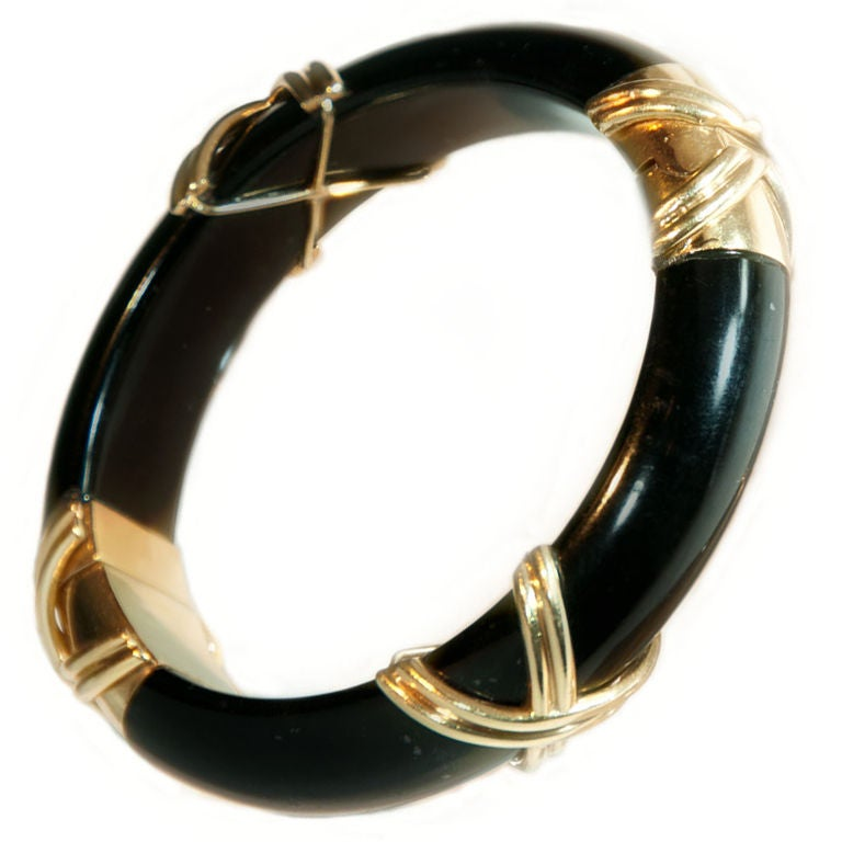 Black Jade Gold Bangle At 1stdibs