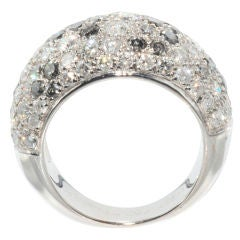 CARTIER Fancy Grey & White Diamond Pave Bombe Ring