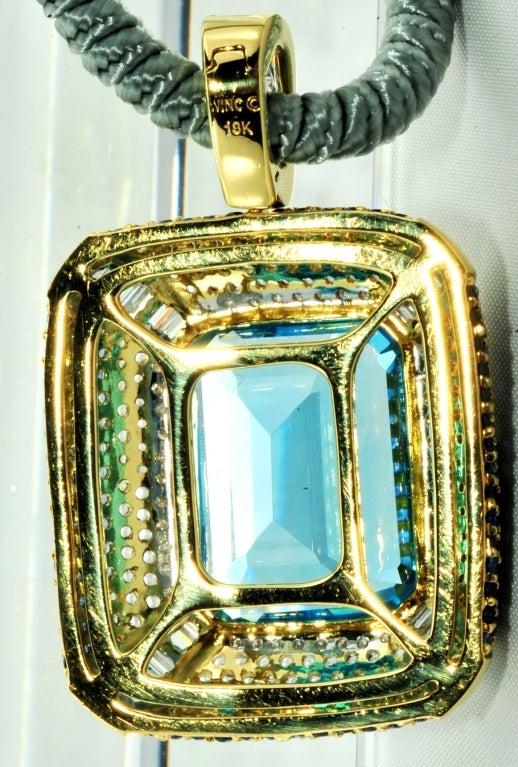 ROBERT WANDER Blue Topaz Sapphire Diamond Pendant  2