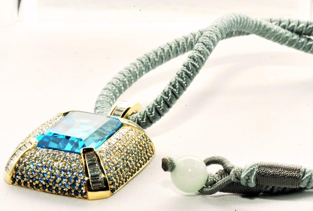 ROBERT WANDER Blue Topaz Sapphire Diamond Pendant  4