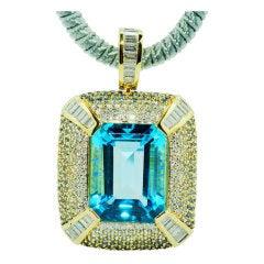 ROBERT WANDER Blue Topaz Sapphire Diamond Pendant