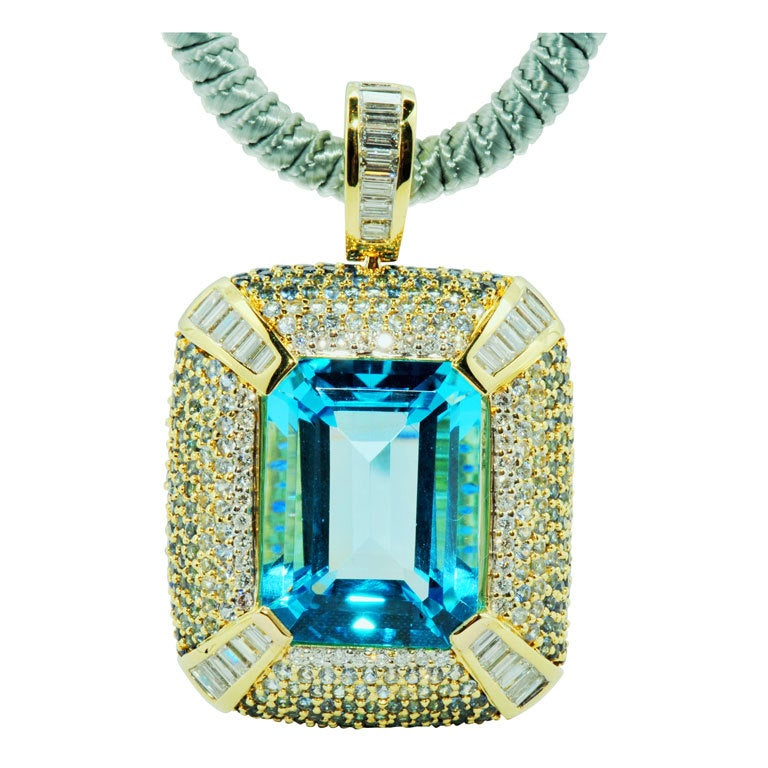 ROBERT WANDER Blue Topaz Sapphire Diamond Pendant  1