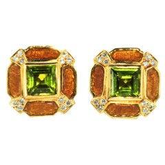 Enamel Peridot Diamond Earrings