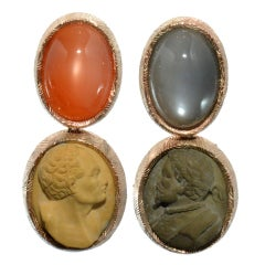 Moonstone and Antique Lava Cameo Earrings