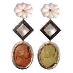 Antique Italian Lava Cameo and Moonstone Earrings