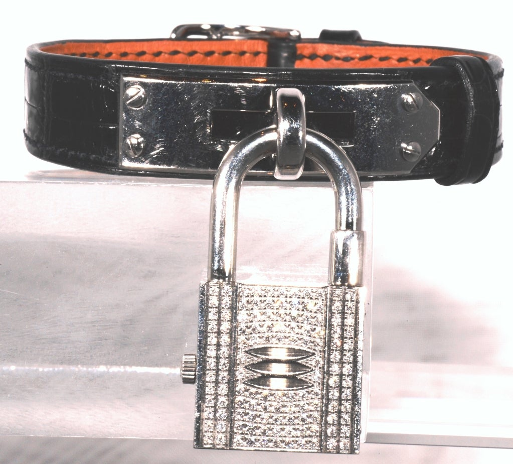 HERMES Lady\u0026#39;s Stainless Steel and Diamond Kelly Padlock Watch For ...