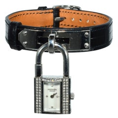 HERMES Lady's Stainless Steel and Diamond Kelly Padlock Watch