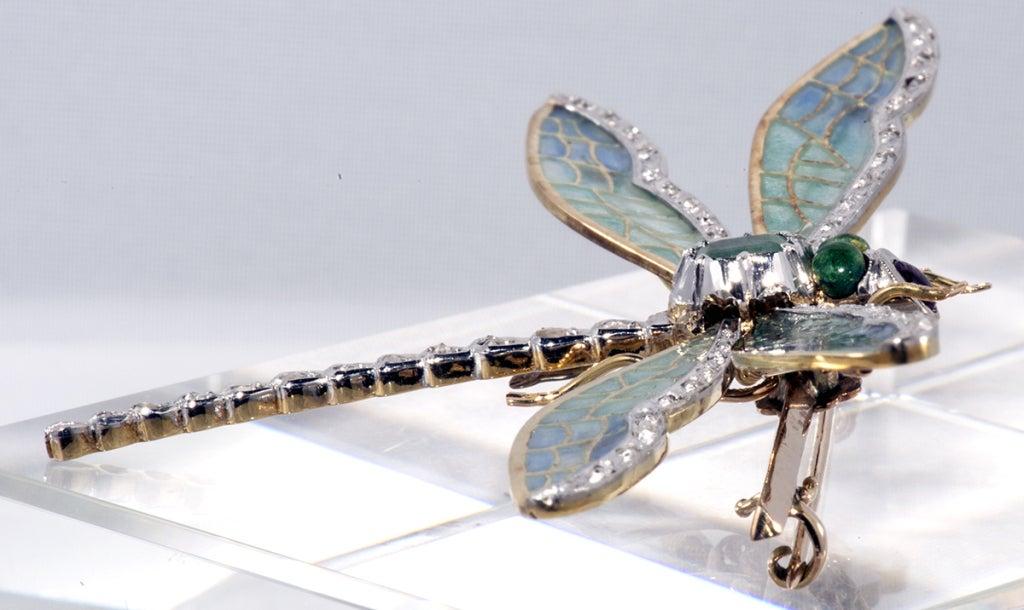 Antique Plique de jour,Diamond and Emerald Dragon Fly Brooch 2