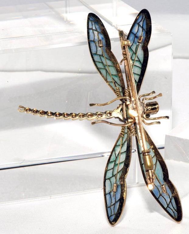 Antique Plique de jour,Diamond and Emerald Dragon Fly Brooch 3