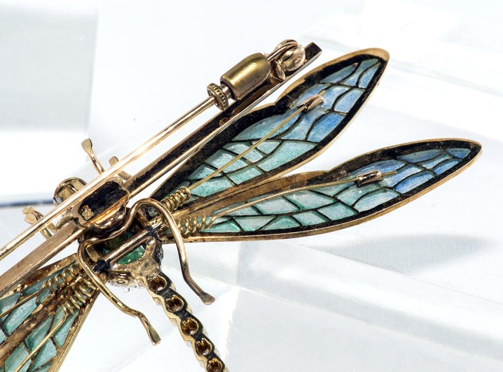 Antique Plique de jour,Diamond and Emerald Dragon Fly Brooch 4