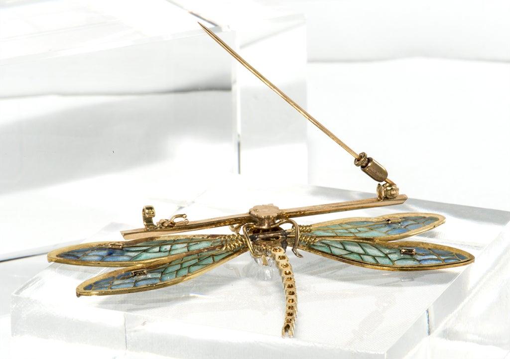 Antique Plique de jour,Diamond and Emerald Dragon Fly Brooch 5