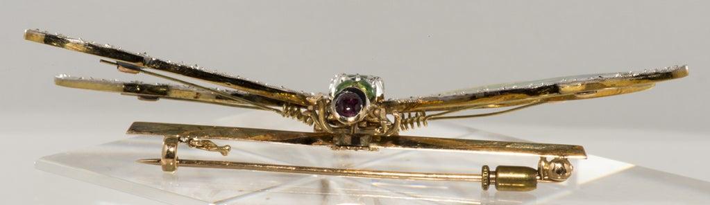 Antique Plique de jour,Diamond and Emerald Dragon Fly Brooch 6
