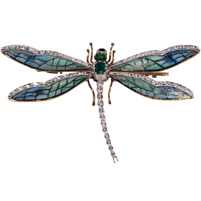 Antique Plique de jour,Diamond and Emerald Dragon Fly Brooch 1