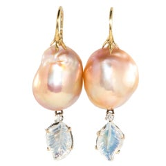 Baroque fresh water apricot pearl  drop earrings