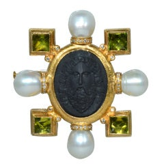 Antique Lava Cameo, Peridot, Pearls and Diamond Brooch