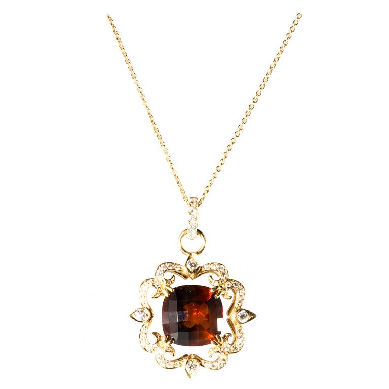 Erica Courtney Garnet and Diamond Gold Necklace For Sale