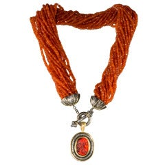 Fire Opal Torsade Necklace with carved cameo glass drop