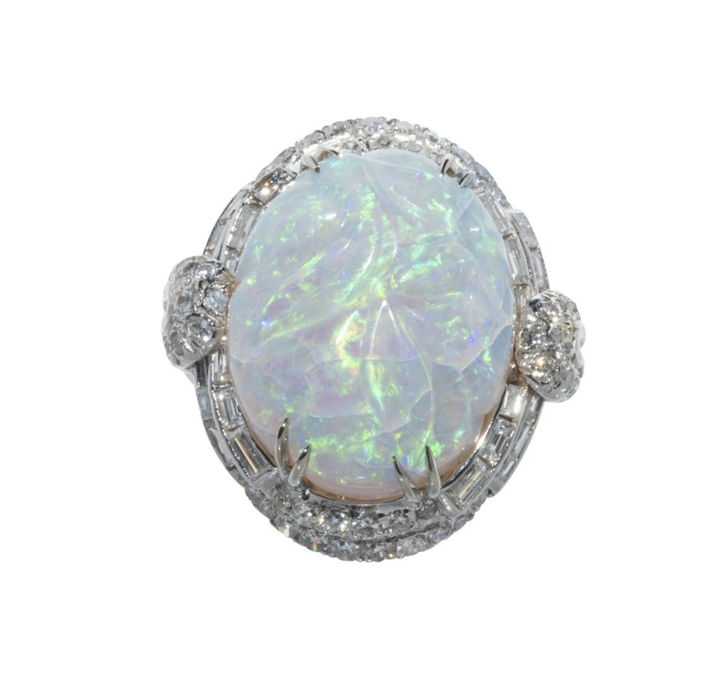 Carved Opal Cocktail Ring with diamonds 2