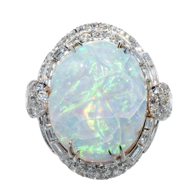 Carved Opal Cocktail Ring with diamonds 1