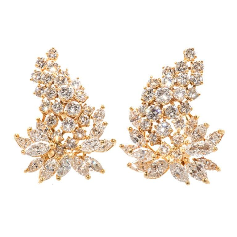 Stunning Diamond Cluster Earrings For Sale