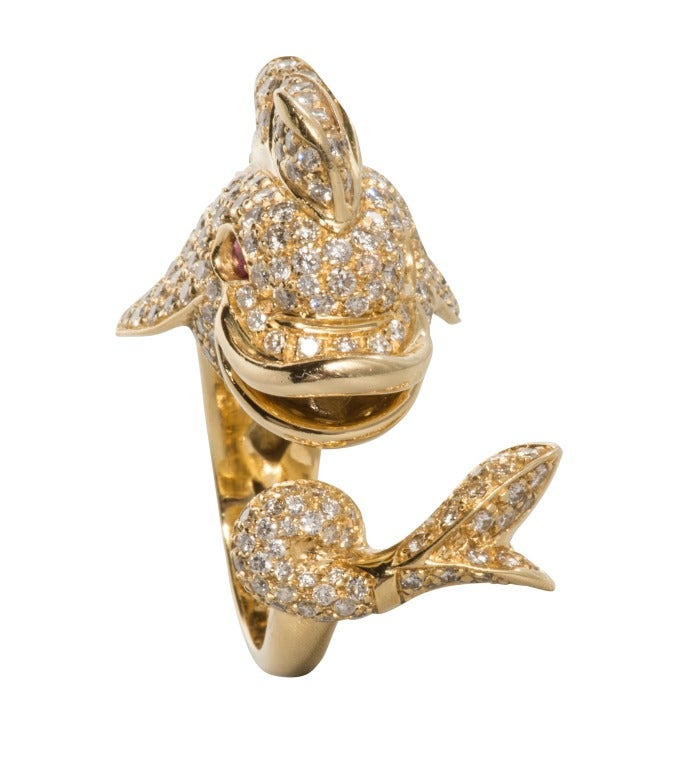 Paolo Borja Italian Diamond Pave Dolphin Ring at 1stdibs