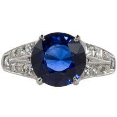 Beautiful Sapphire and French Cut Diamond Ring