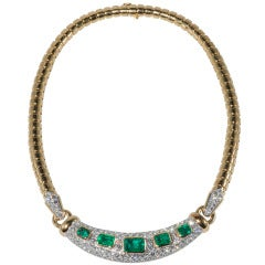 David Webb Beautiful Emerald Diamond Necklace