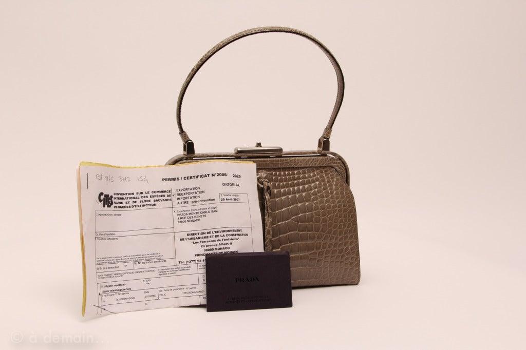 Prada marvelous and rare handbag, alligator crocodile skin at 1stdibs