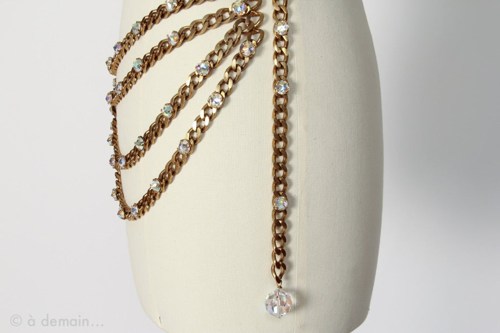 1980s Chanel rare Chain and Strass Belt (unsigned) 5