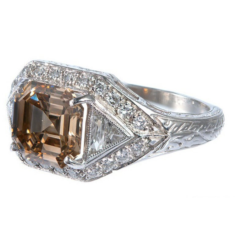 Peter Suchy Yellow and Brown Diamond Platinum Ring For Sale at 1stdibs