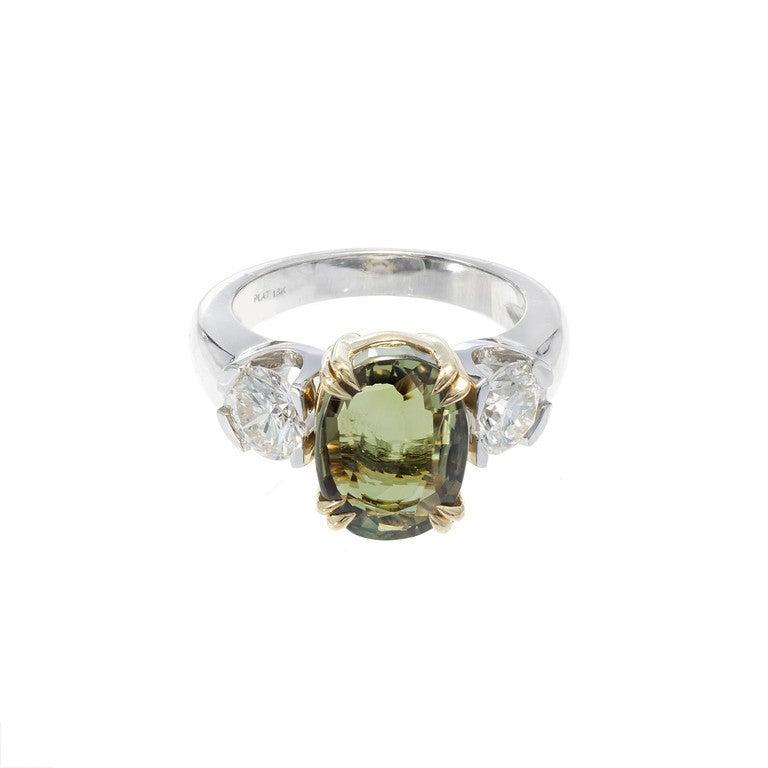 Peter Suchy 5.40 Carat Natural Alexandrite Diamond Platinum Gold Engagement Ring For Sale 3