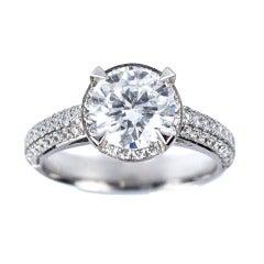 Peter Suchy GIA Certified 2.01 Carat Halo Diamond Platinum Engagement Ring