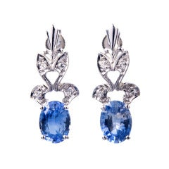 1950s Oval Sapphire Diamond Gold Dangle Earrings
