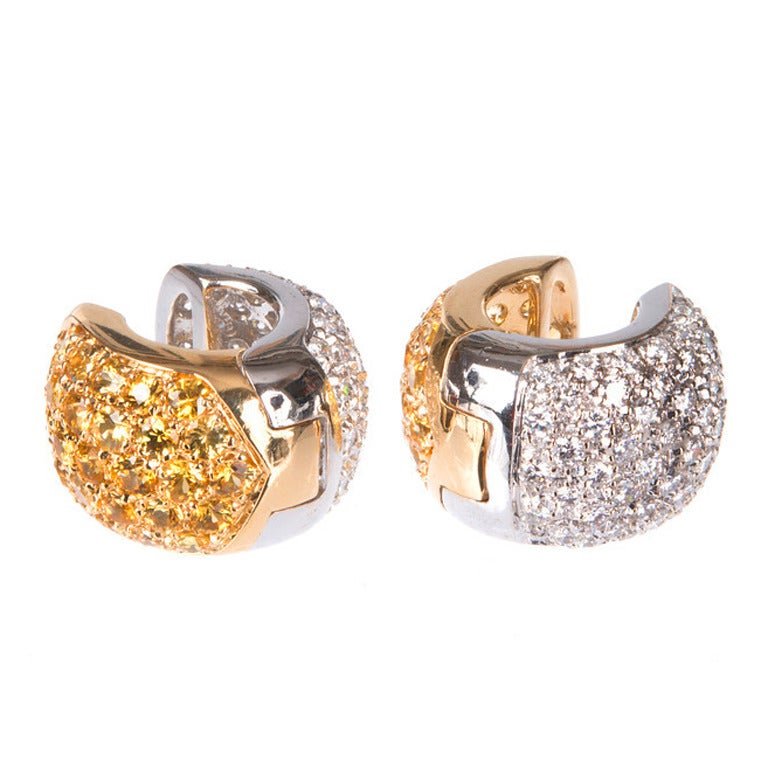 Yellow Sapphire Diamond White Gold Huggie Earrings at 1stdibs