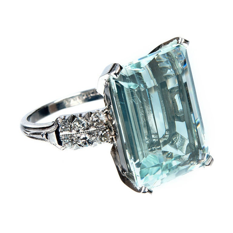 deco 10 60 carat aquamarine platinum ring for