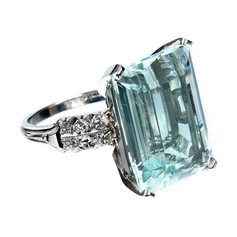 aquamarine platinum ring c1920 at 1stdibs